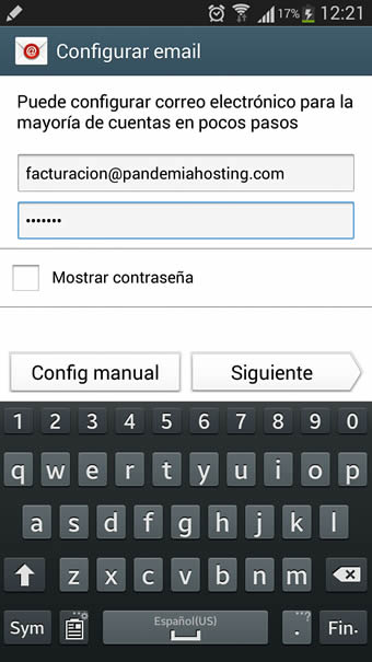 configurar email android