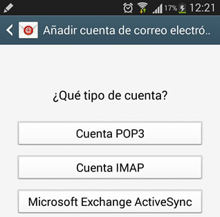 configurar pop3 android